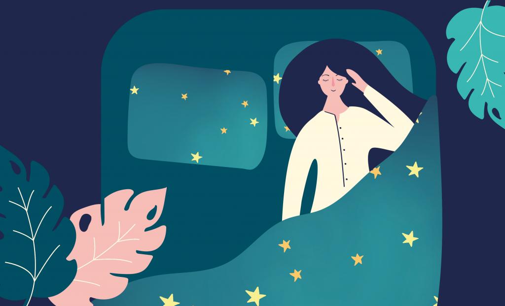 illustration of woman asleep with star overlay