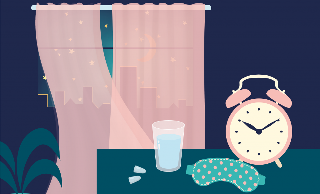 alarm clock, water, sleep mask and open window in relation to tips from previous paragraph