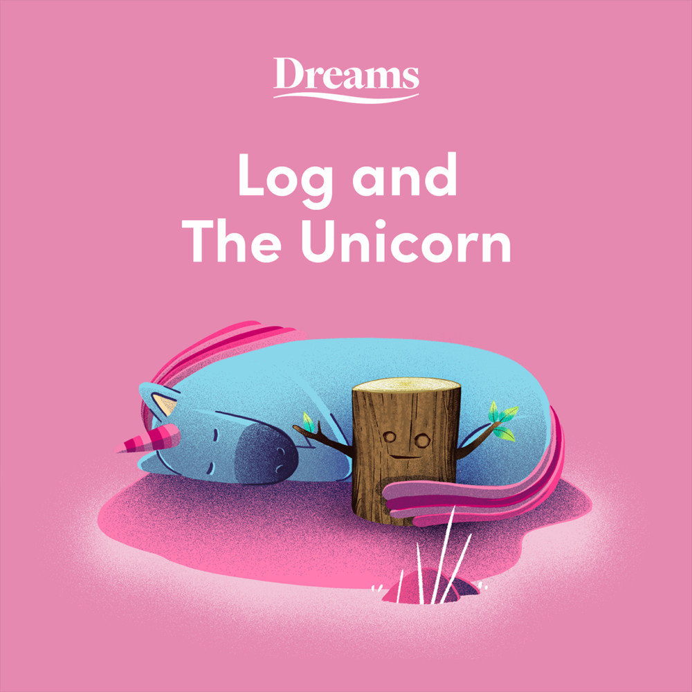 Log & The Unicorn Cover - A cartoon image of a unicorn hugging log with its tail.