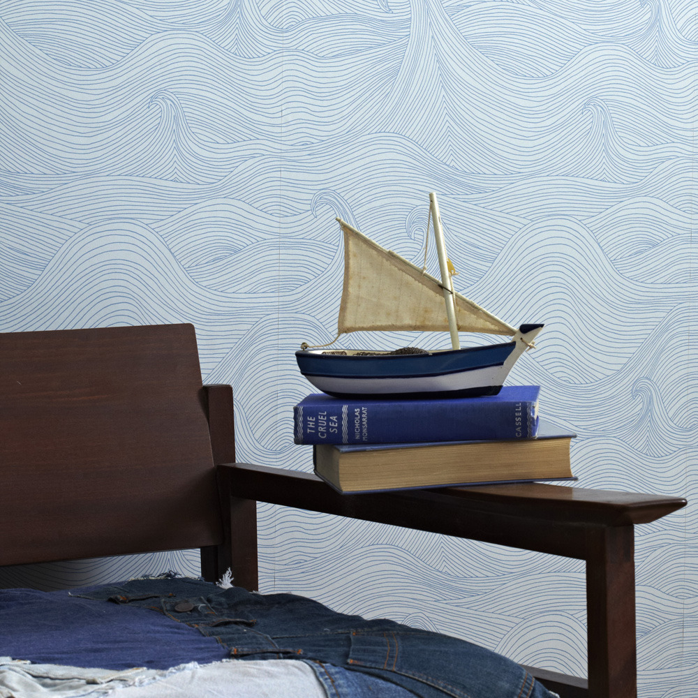 Seascape Wallpaper by Abigail Edwards makes a perfectly relaxing accent to your bedroom. Read more on The Sleep Matters Club.
