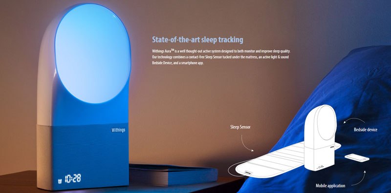 The Aura monitor tracks your sleep to improve your waking time.
