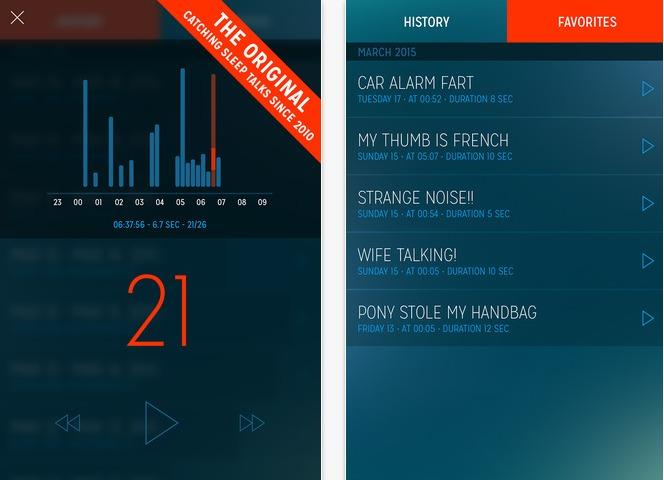 A screen shot of the Sleep Talk Recorder app