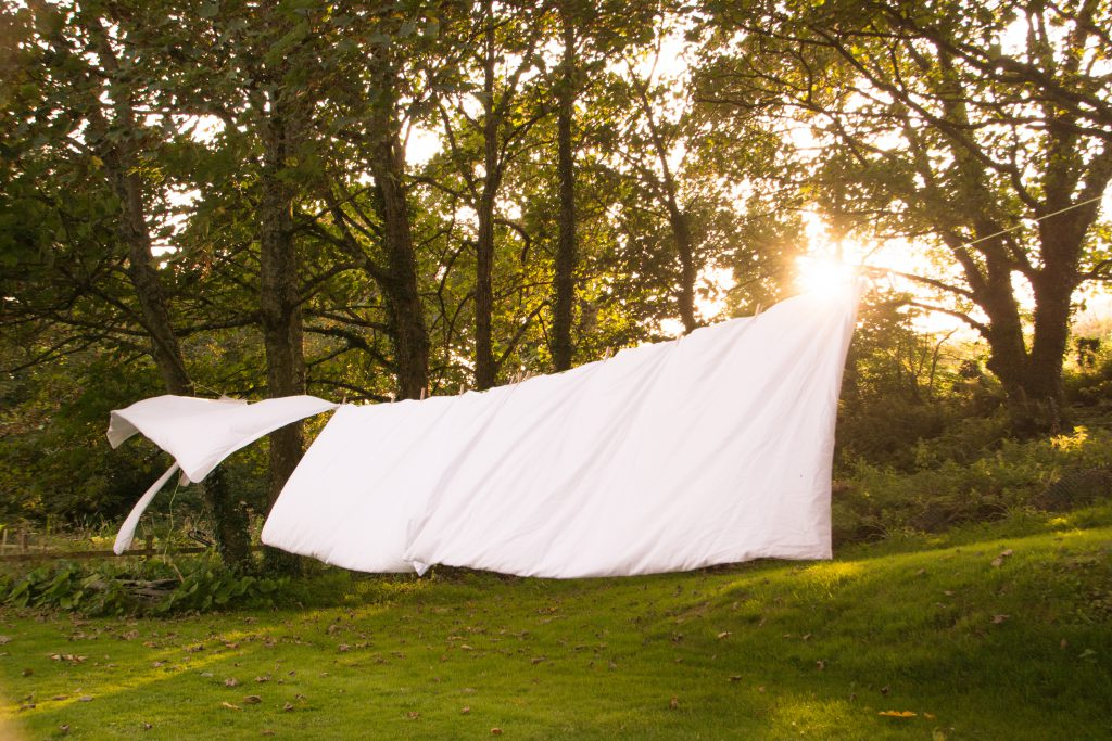 Sheets hung out to dry
