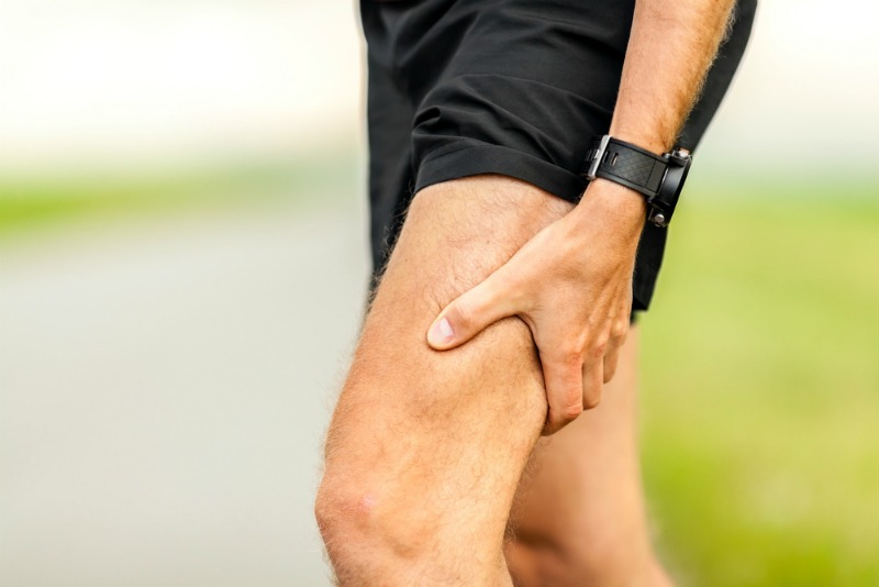 An image of a leg after sporting injuries
