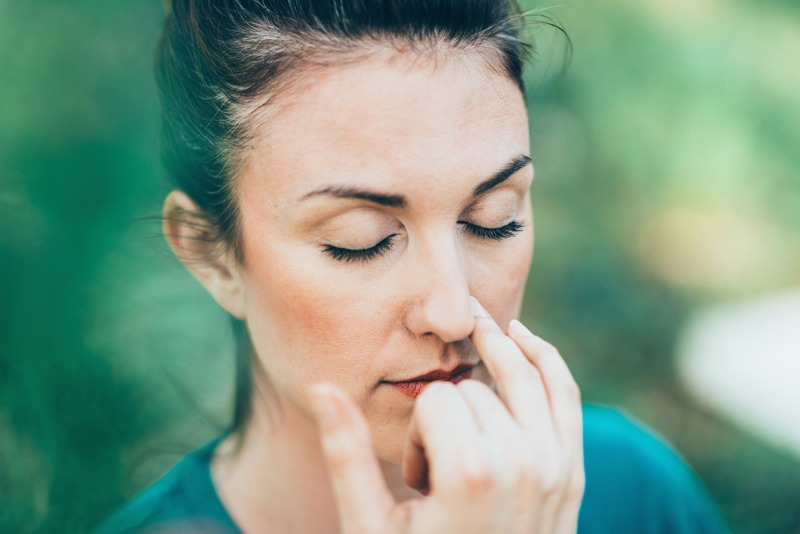 Image of woman alternate nostril breathing