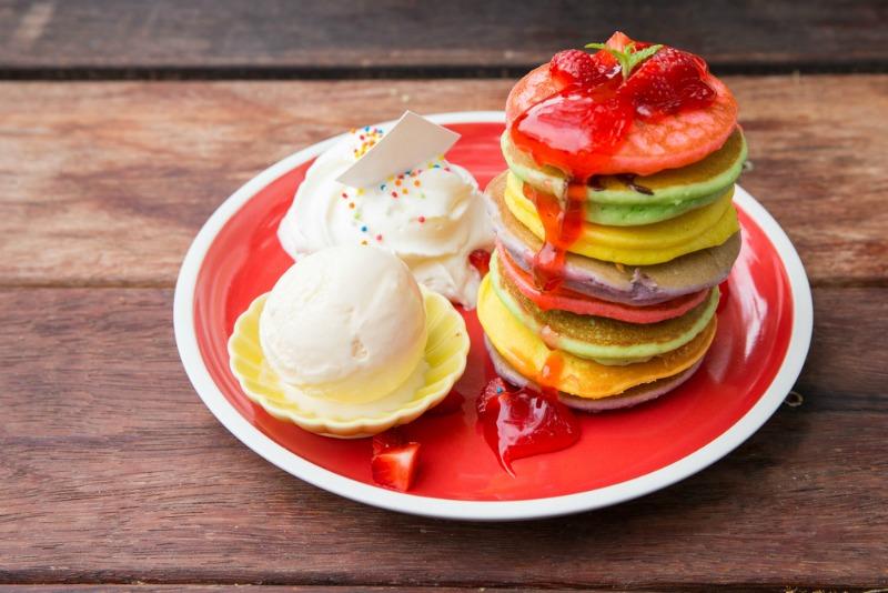 Image of rainbow pancakes for pancake day