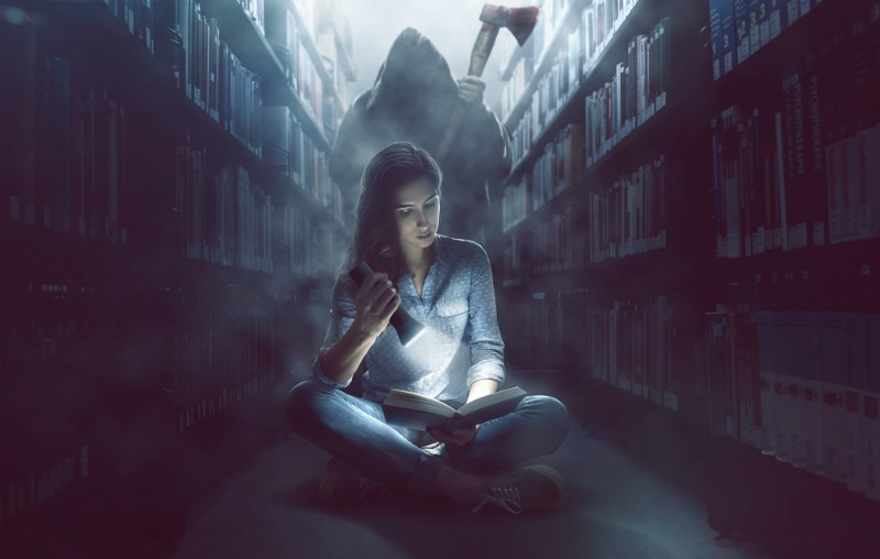 image of reading in a haunted library