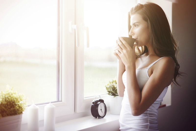 image of relaxed woman in morning