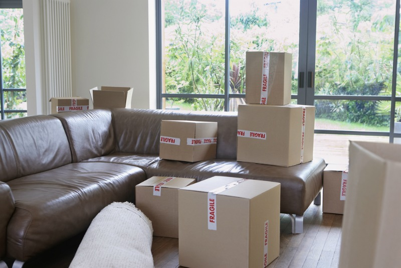 image of sofa and boxes