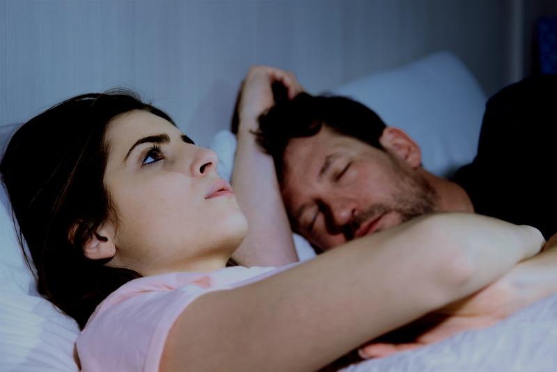 Image of woman awake at night