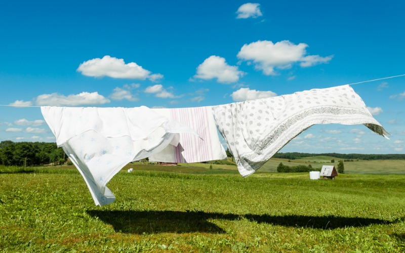 Bed linen on washing line