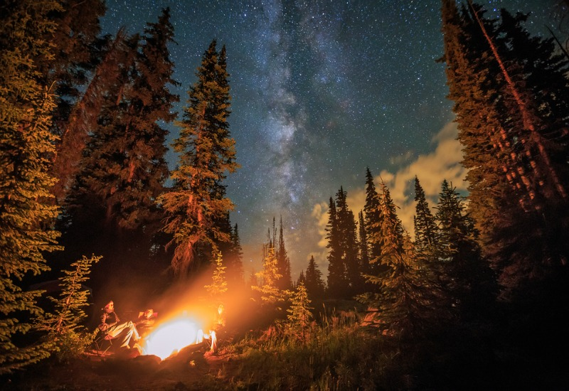 Camping in rocky mountains