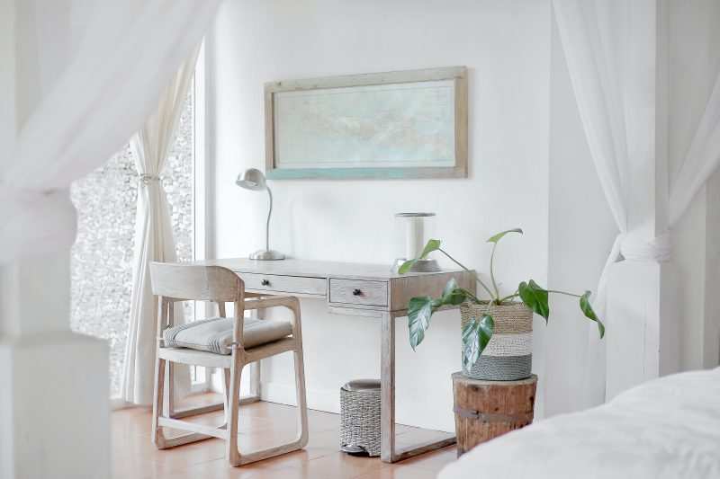 bedroom with desk and work space to show working bedroom design trend