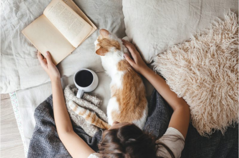woman with warm tea, journal and a cat to show hygge lifestyle