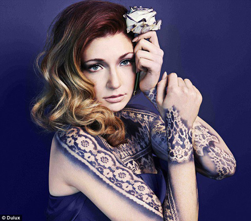 Indigo Night makes a perfectly relaxing bedroom colour. Modeled here by Nicola Roberts. Read more on The Sleep Matters Club.