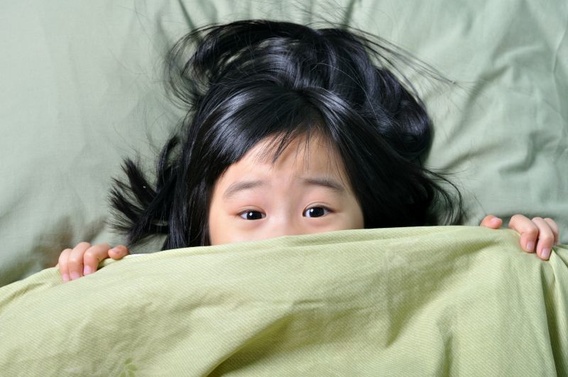 Little girl scared in bed after having nightmares