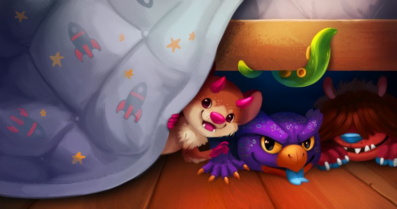 Illustration of cute monsters hiding under bed