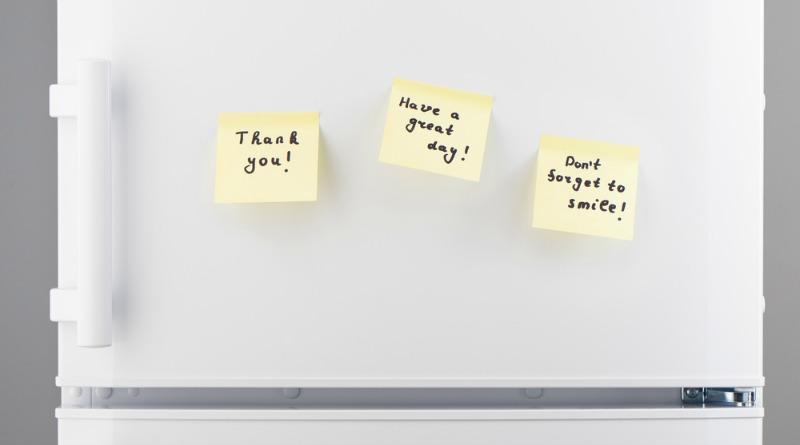positive notes on fridge