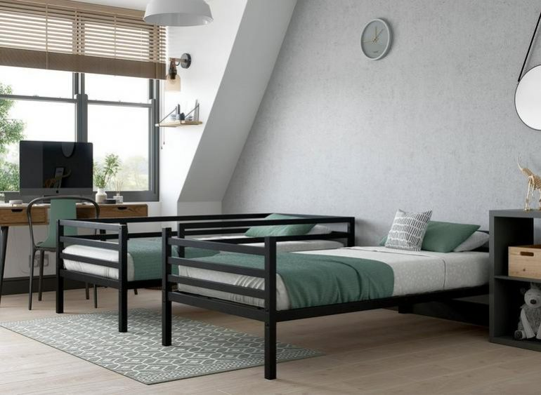 Dreams Saturn Metal Bed with bedroom office setup