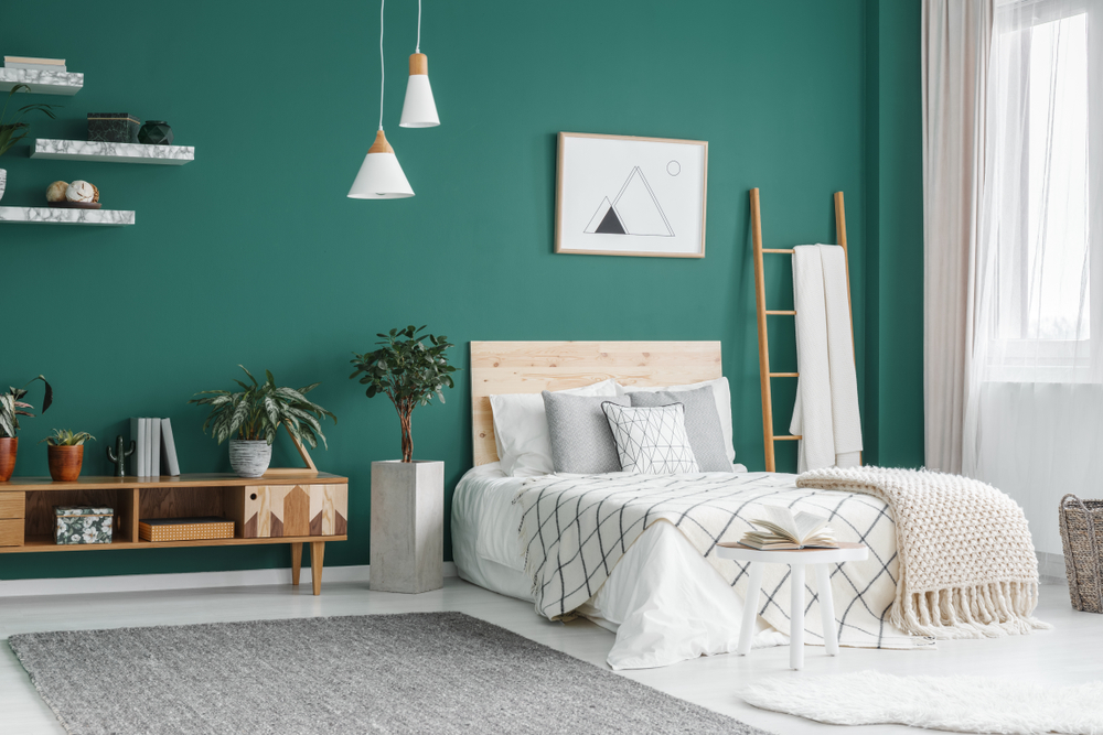 Green and Natural Bedroom Colour Scheme