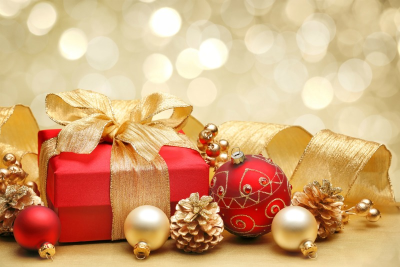 Image of christmas present and tree decorations