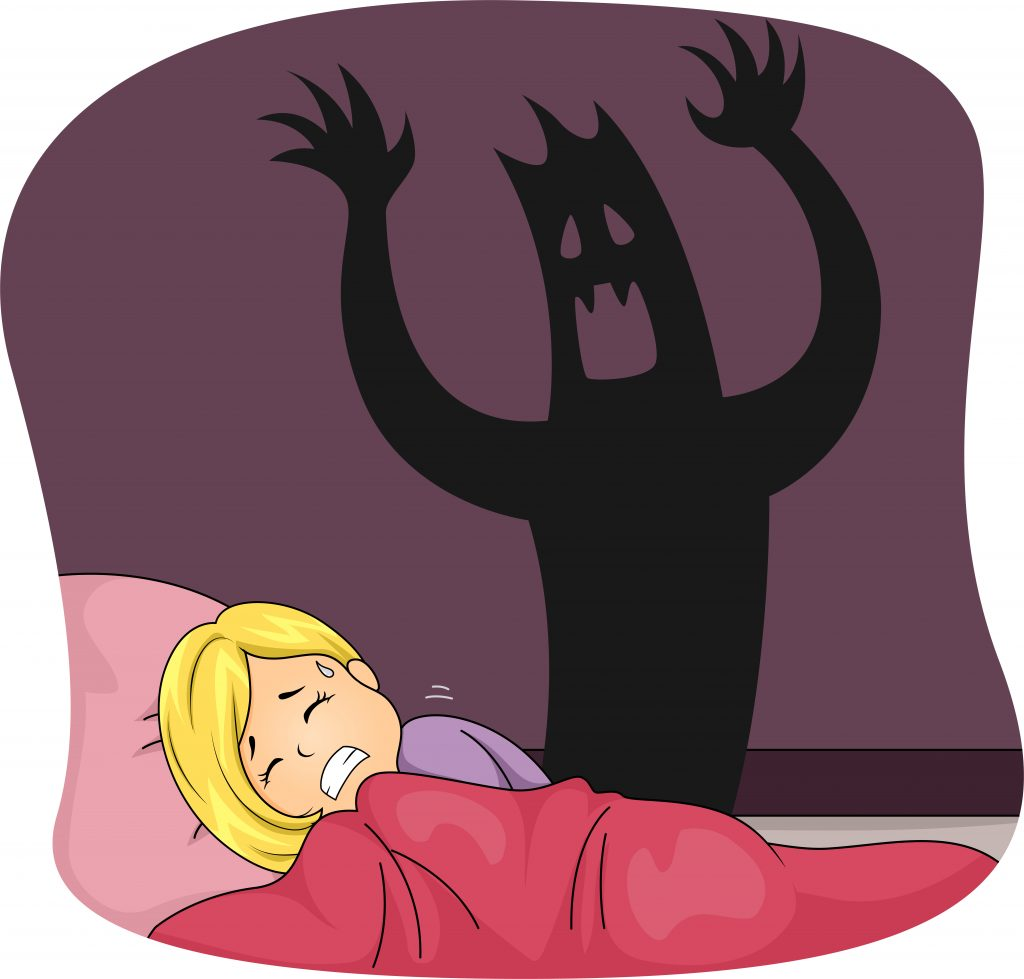 Illustration of young girl in bed having nightmares of a monster