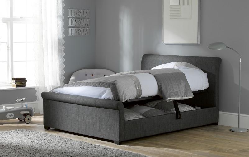 Grey storage bed