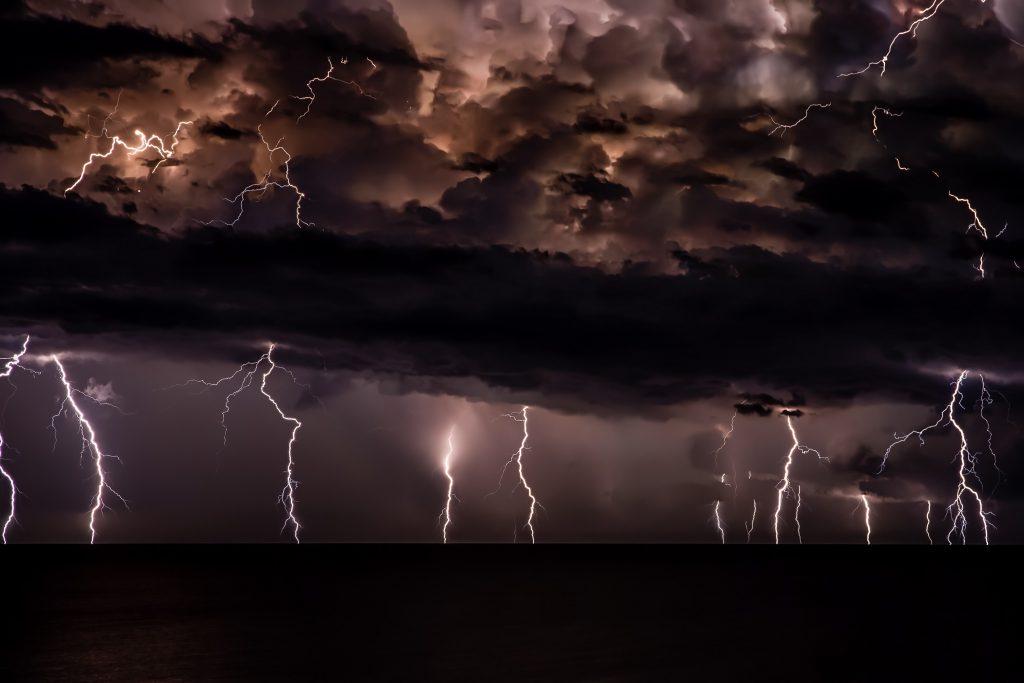 dark sky and lightning