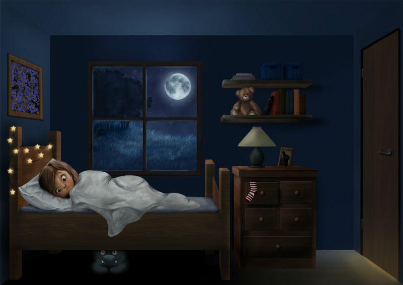 Illustration of child kept awake by monster under the bed