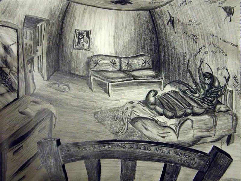 Image of Gregor Samsa waking up as an insect in Kafka's Metamorphosis
