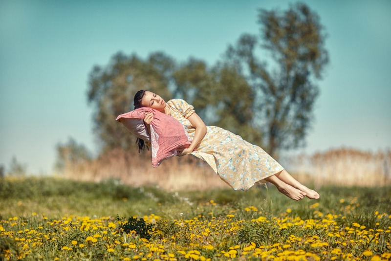 Woman lucid dreaming