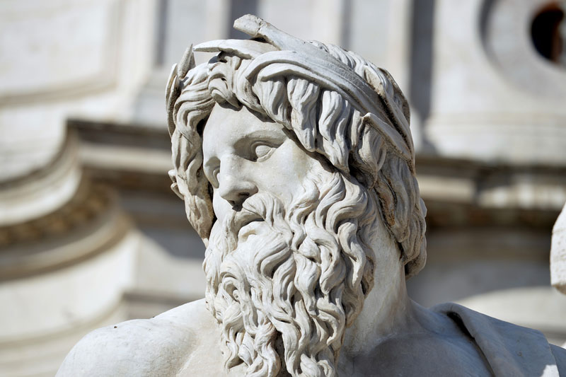 Statue of Zeus, Navona Square, Rome, Italy. The Sleep Matters Club.